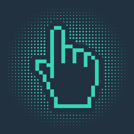 Green Pixel hand cursor icon isolated on blue background. Pointer hand cursor. Abstract circle random dots. Vector Illustration Illustration