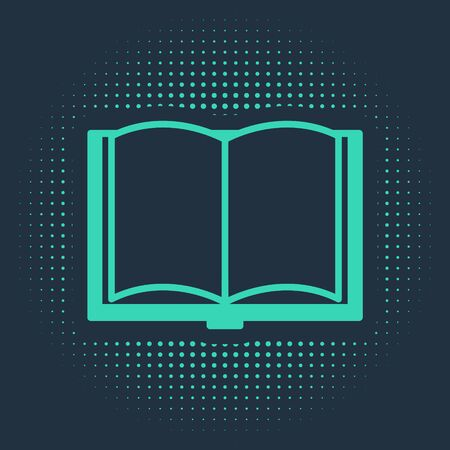 Green Open book icon isolated on blue background. Abstract circle random dots. Vector Illustration 版權商用圖片 - 134916642