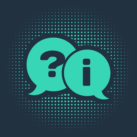 Green Speech bubbles with Question and Exclamation icon isolated on blue background. FAQ sign. Copy files, chat speech bubble and chart. Abstract circle random dots. Vector Illustration