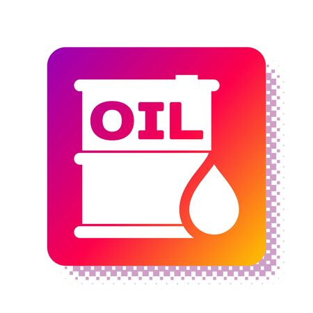 White Oil barrel icon isolated on white background. Oil drum container. For infographics, fuel, industry, power, ecology. Square color button. Vector Illustration Stock Illustratie