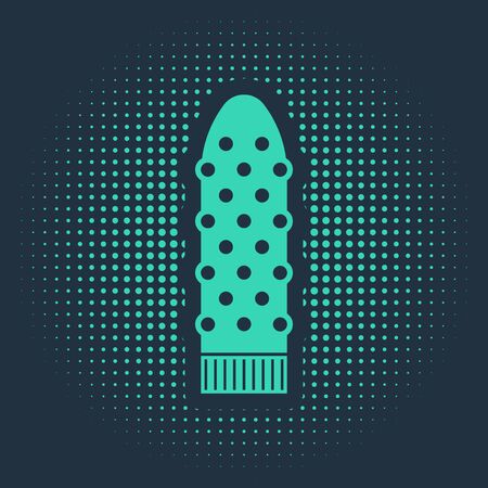 Green Dildo vibrator for sex games icon isolated on blue background. Sex toy for adult. Vaginal exercise machines for intimate. Abstract circle random dots. Vector Illustration Ilustrace