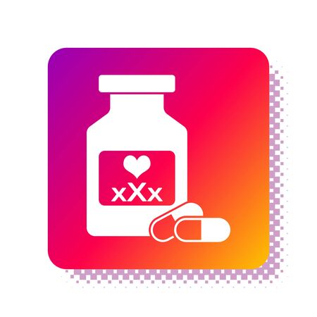 White Medicine bottle with pills for potency, aphrodisiac icon isolated on white background. Sex pills for men and women. Square color button. Vector Illustration