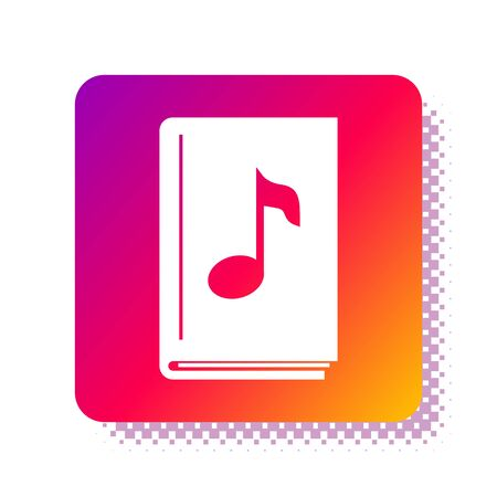 White Audio book icon isolated on white background. Musical note with book. Audio guide sign. Online learning concept. Square color button. Vector Illustration 版權商用圖片 - 134914131