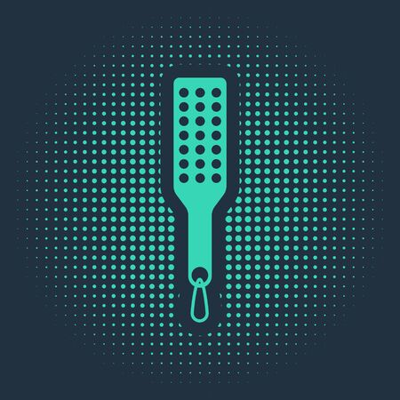 Green Spanking paddle icon isolated on blue background. Fetish accessory. Sex toy for adult. Abstract circle random dots. Vector Illustration