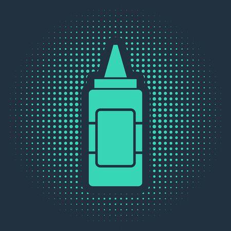 Green Mustard bottle icon isolated on blue background. Abstract circle random dots. Vector Illustration Illustration
