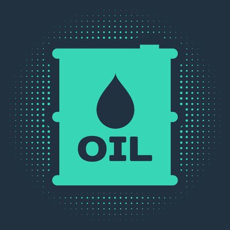 Green Oil barrel icon isolated on blue background. Oil drum container. For infographics, fuel, industry, power, ecology. Abstract circle random dots. Vector Illustration Ilustração
