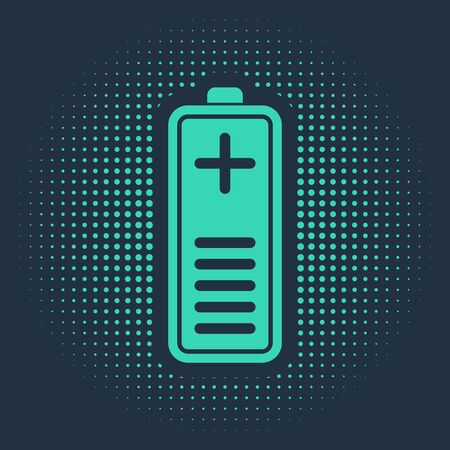 Green Battery charge level indicator icon isolated on blue background. Abstract circle random dots. Vector Illustration