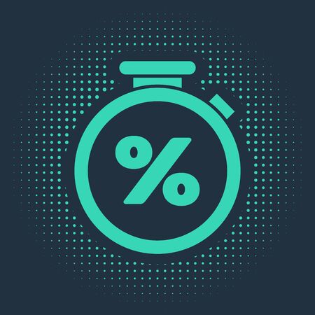 Green Stopwatch and percent discount icon isolated on blue background. Time timer sign. Abstract circle random dots. Vector Illustration Illustration
