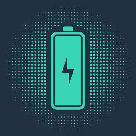Green Battery icon isolated on blue background. Lightning bolt symbol. Abstract circle random dots. Vector Illustration Ilustração