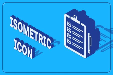 Isometric Verification of delivery list clipboard and pen icon isolated on blue background. Vector Illustration
