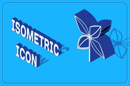 Isometric Pinwheel icon isolated on blue background. Windmill toy icon. Vector Illustration Vectores