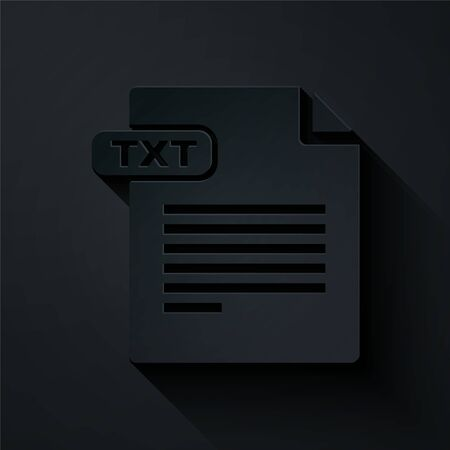 Paper cut TXT file document. Download txt button icon isolated on black background. Text file extension symbol. Paper art style. Vector Illustration 일러스트