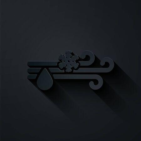 Paper cut Wind and rain with snow icon isolated on black background. Windy weather. Paper art style. Vector Illustration