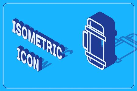 Isometric Thermo container icon isolated on blue background. Thermo flask icon. Camping and hiking equipment. Vector Illustration