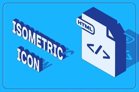 Isometric HTML file document. Download html button icon isolated on blue background. HTML file symbol. Markup language symbol. Vector Illustration Illustration