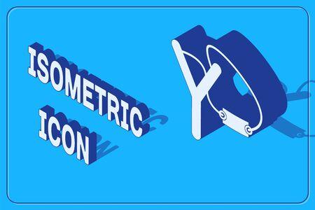 Icono de Slingshot isométrico aislado sobre fondo azul. Ilustración vectorial