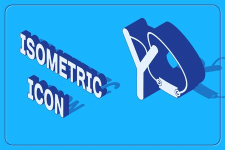 Isometric Slingshot icon isolated on blue background. Vector Illustration