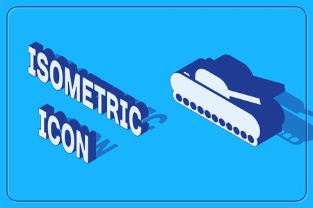 Isometric Military tank icon isolated on blue background. Vector Illustration