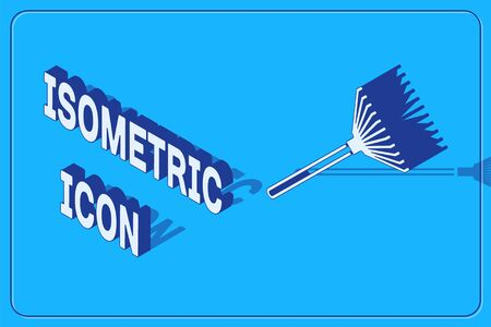 Isometric Garden rake for leaves icon isolated on blue background. Tool for horticulture, agriculture, farming. Ground cultivator. Vector Illustration