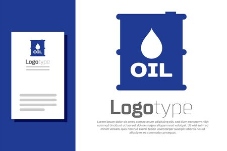 Blue Oil barrel icon isolated on white background. Oil drum container. For infographics, fuel, industry, power, ecology.
