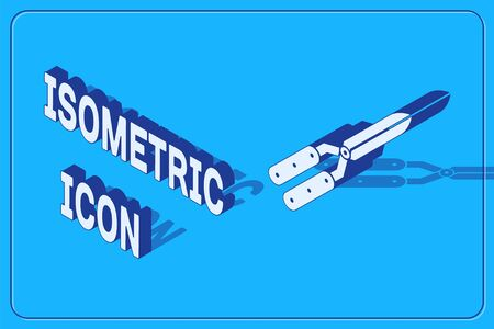 Isometric Gardening handmade scissors for trimming icon isolated on blue background. Pruning shears with wooden handles. Vector Illustration Çizim