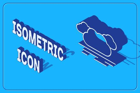 Isometric Cloud icon isolated on blue background. Vector Illustration