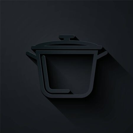 Paper cut Cooking pot icon isolated on black background. Boil or stew food symbol. Paper art style. Vector Illustration Иллюстрация