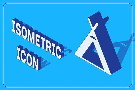 Isometric Tourist tent icon isolated on blue background. Camping symbol. Vector Illustration Illusztráció
