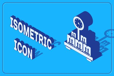 Isometric Scale with cardboard box icon isolated on blue background. Logistic and delivery. Weight of delivery package on a scale. Vector Illustration