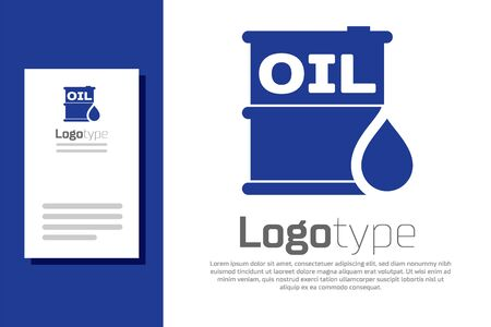 Blue Oil barrel icon isolated on white background. Oil drum container. For infographics, fuel, industry, power, ecology. Logo design template element. Vector Illustration Illusztráció
