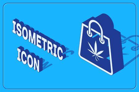 Isometric Shopping paper bag of medical marijuana or cannabis leaf icon isolated on blue background. Buying cannabis. Hemp symbol. Vector Illustration Stock Illustratie