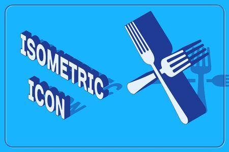 Isometric Crossed fork icon isolated on blue background. Cutlery symbol. Vector Illustration Illusztráció
