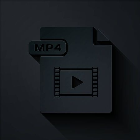 Paper cut MP4 file document. Download mp4 button icon isolated on black background. MP4 file symbol. Paper art style. Vector Illustration Illusztráció