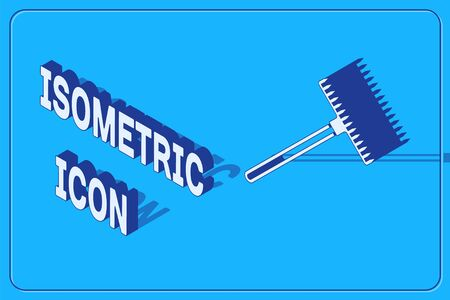Isometric Garden rake icon isolated on blue background. Tool for horticulture, agriculture, farming. Ground cultivator. Housekeeping equipment. Vector Illustration