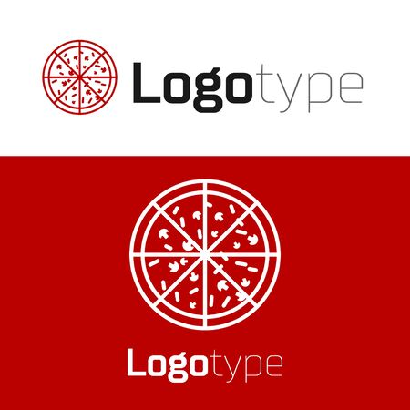Red Pizza icon isolated on white background. Vector Illustration