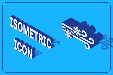 Isometric Wind and snow icon isolated on blue background. Windy weather. Vector Illustration
