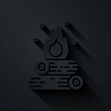 Paper cut Campfire icon isolated on black background. Burning bonfire with wood. Paper art style. Vector Illustration