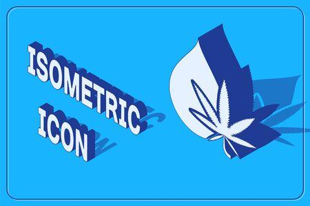 Isometric Medical marijuana or cannabis leaf olive oil drop icon isolated on blue background. Cannabis extract. Hemp symbol. Vector Illustration