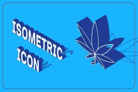 Isometric Medical marijuana or cannabis leaf icon isolated on blue background. Hemp symbol. Vector Illustration