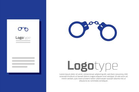 Blue Handcuffs icon isolated on white background.