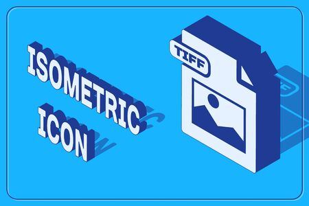 Isometric TIFF file document. Download tiff button icon isolated on blue background. TIFF file symbol. Vector Illustration