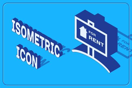 Isometric Hanging sign with text For Rent icon isolated on blue background. Signboard with text For Rent. Vector Illustration