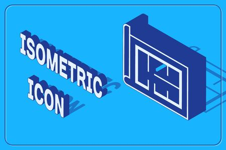 Isometric House plan icon isolated on blue background. Vector Illustration