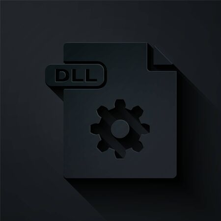 Paper cut DLL file document. Download dll button icon isolated on black background. DLL file symbol. Paper art style. Vector Illustration