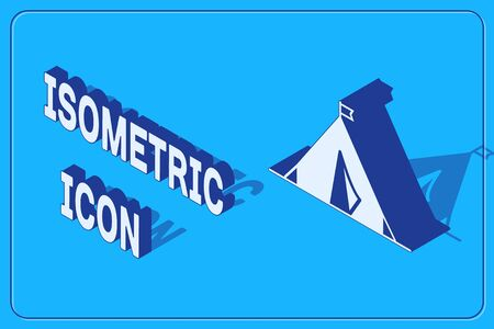 Isometric Tourist tent with flag icon isolated on blue background. Camping symbol. Vector Illustration Illusztráció