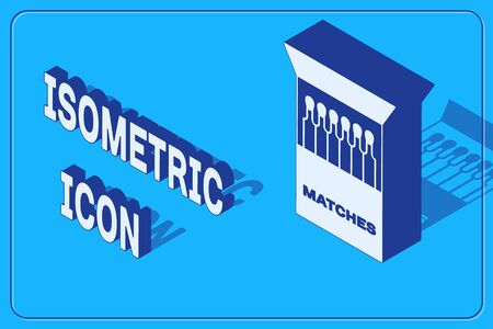 Isometric Open matchbox and matches icon isolated on blue background. Vector Illustration