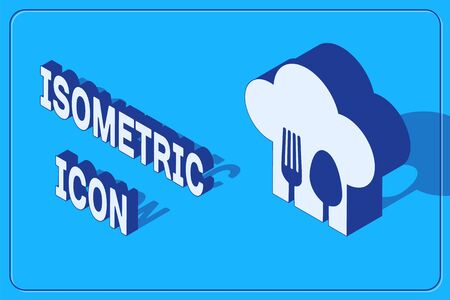 Isometric Chef hat with fork and spoon icon isolated on blue background. Cooking symbol. Restaurant menu. Cooks hat. Vector Illustration Illusztráció