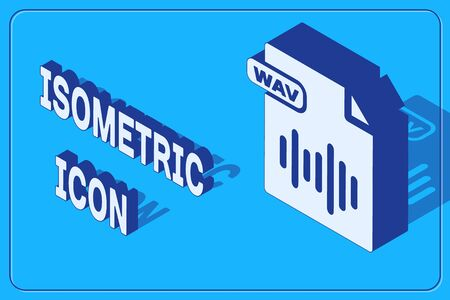 Isometric WAV file document. Download wav button icon isolated on blue background. WAV waveform audio file format for digital audio riff files. Vector Illustration