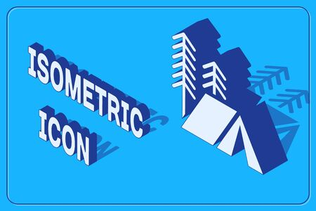 Isometric Tourist tent icon isolated on blue background. Camping symbol. Vector Illustration 矢量图像