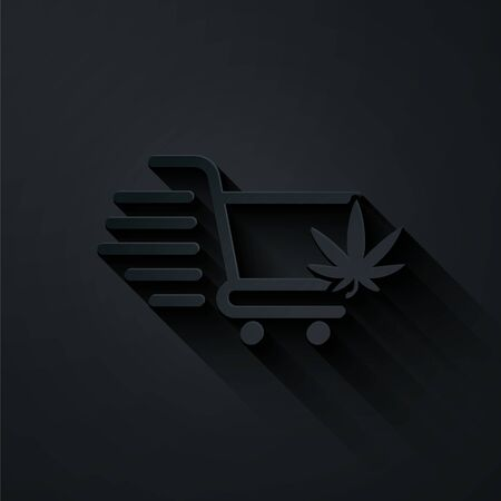 Paper cut Shopping cart with marijuana or cannabis leaf icon isolated on black background. Online buying. Delivery service. Supermarket basket. Paper art style. Vector Illustration Stock Illustratie
